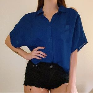 🌸Urban Outfitters Blue Cold Shoulder Button Up
